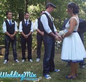 Shelley & Joseph's Ontario campout wedding captured by their guests using Storymix's WeddingMix app.