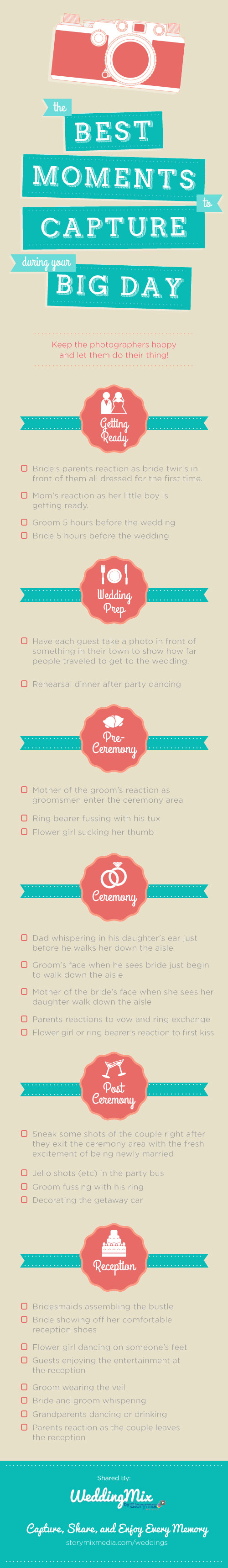 best moments wedding photo video checklist infographic