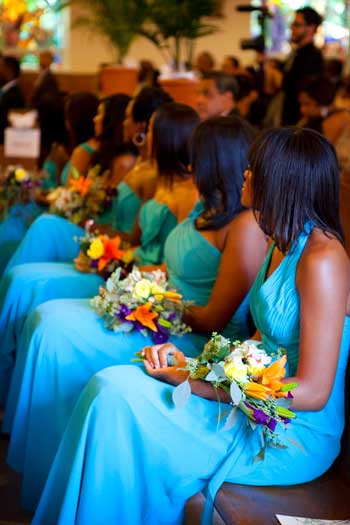 Gorgeous teal bridesmaid dresses