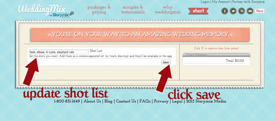 Be the director of your wedding video with your own customized shotlist