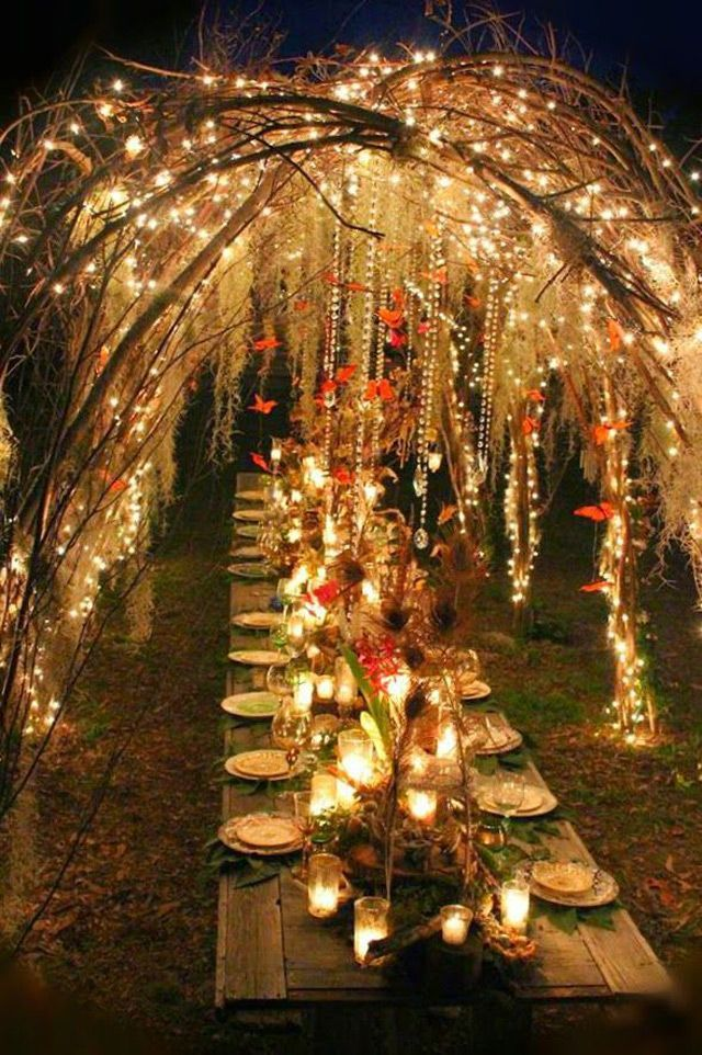 Fall outdoor wedding ideas lighting