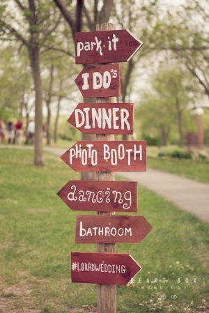 DIY Wedding Sign with directions -- good idea for your reception