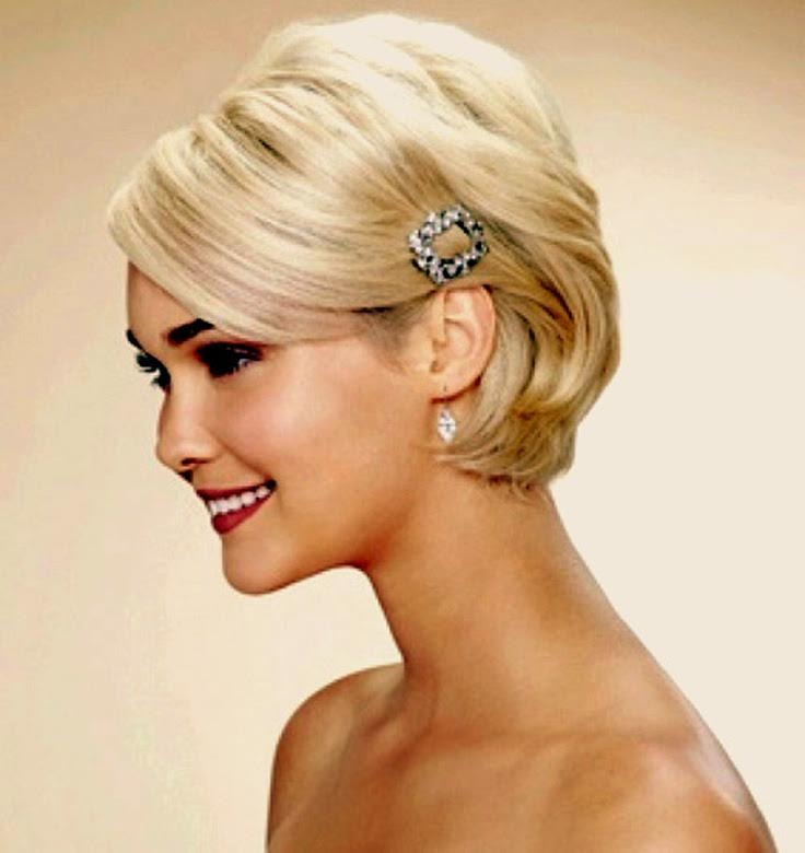 Short hair wedding day hairstyle diamond barrette