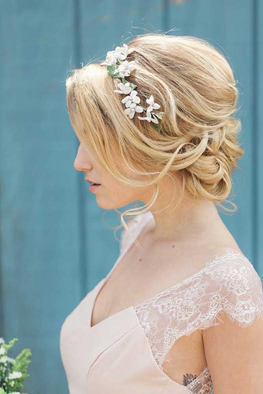 Wedding day hairstyle updo boho flower crown