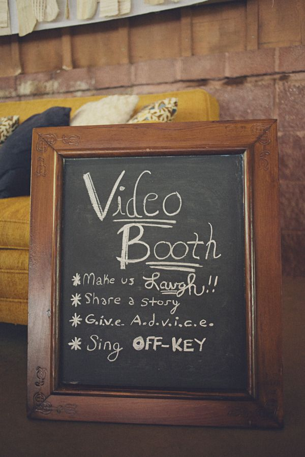 wedding chalkboard video booth