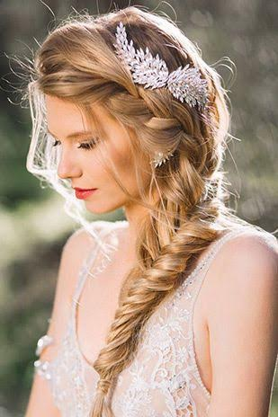 Long wedding day hairstyle boho fishtail braid headpiece