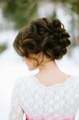 Brunette updo short wedding day hairstyle curls