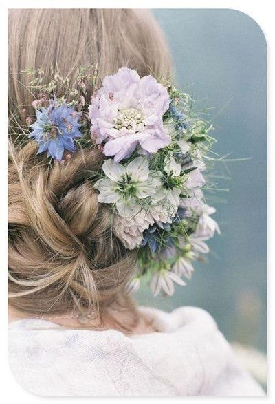 Updo short wedding day hairstyle indie flowers