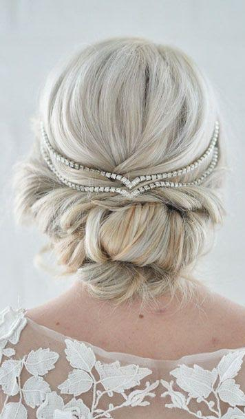 Wedding Day updo hairstlye diamond headpiece