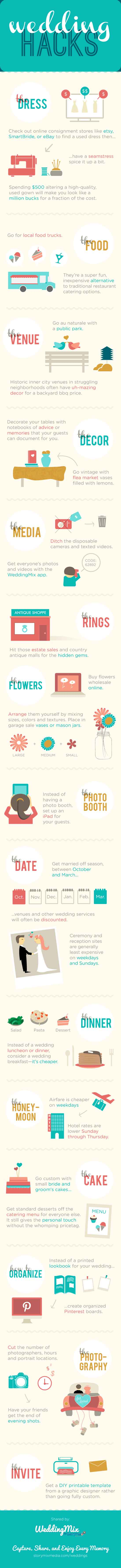 Top DIY Wedding Hacks Infographic @WeddingMix