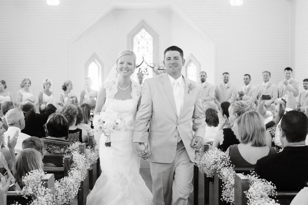 church wedding black and white photo