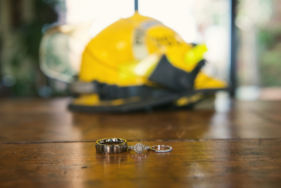 firefighter ring picture rustic wedding