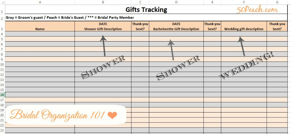wedding organization template