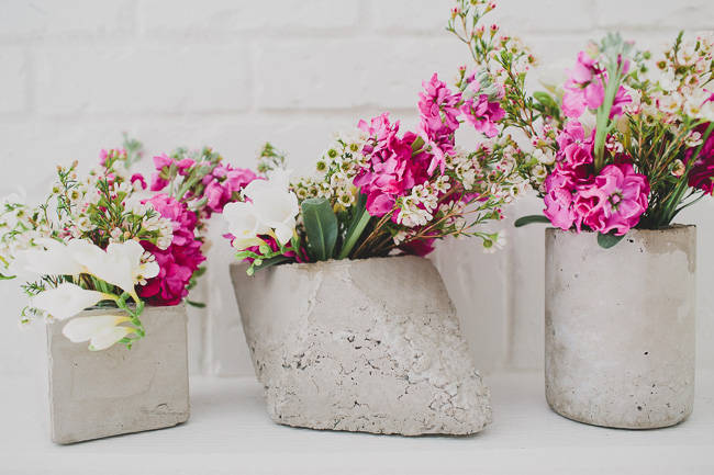 rustic cement centerpiece diy