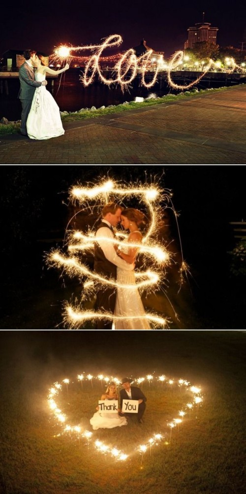 fun wedding sparkler group