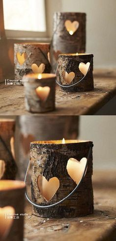 birch bark candle holders rustic wedding