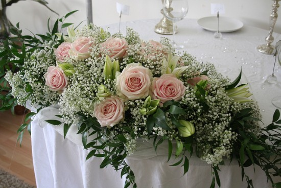 pink wedding flowers and wedding video