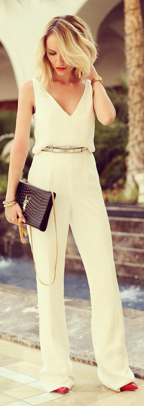 white jumpsuit rehearsal dinner outfit