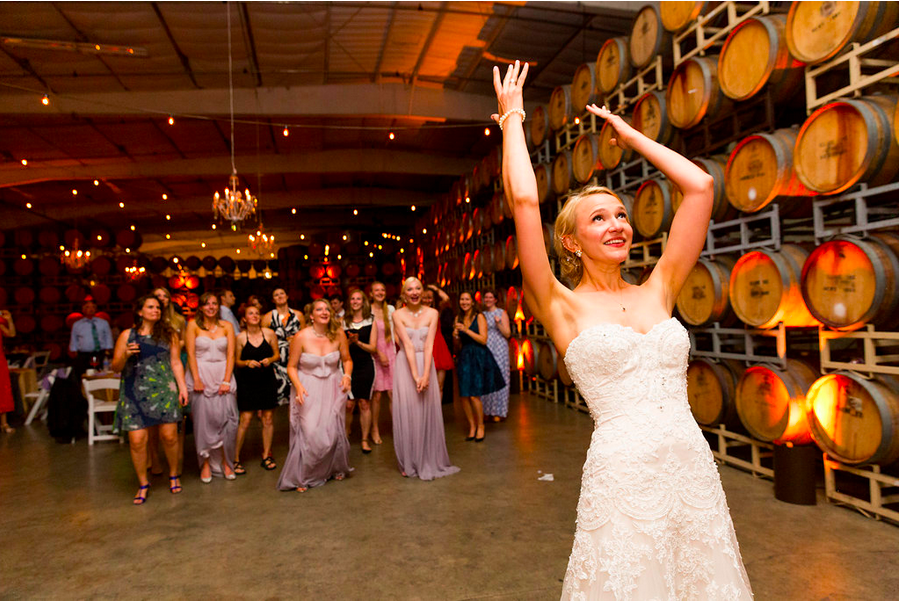 bouquet toss cline cellars wedding