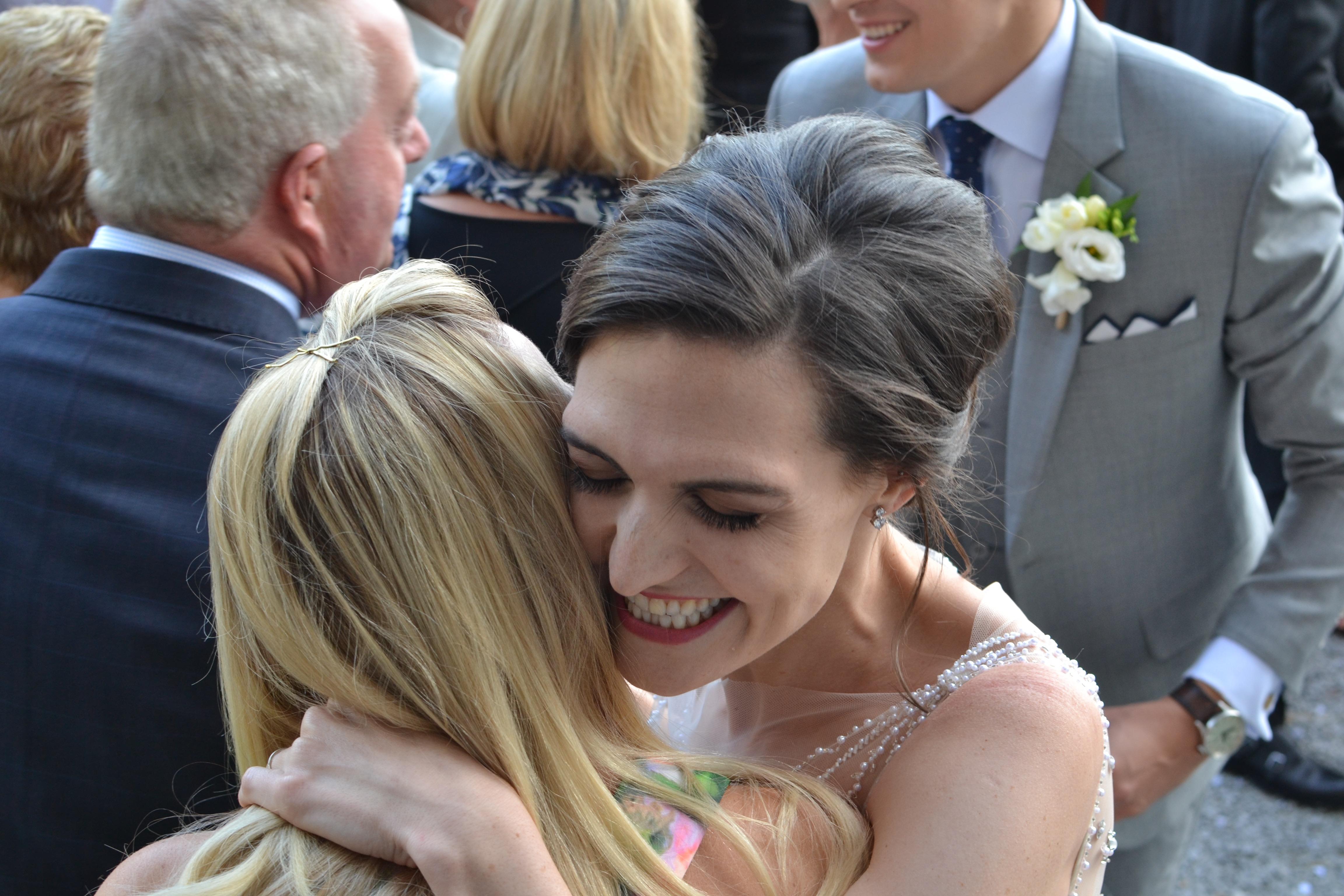 bride hug videography