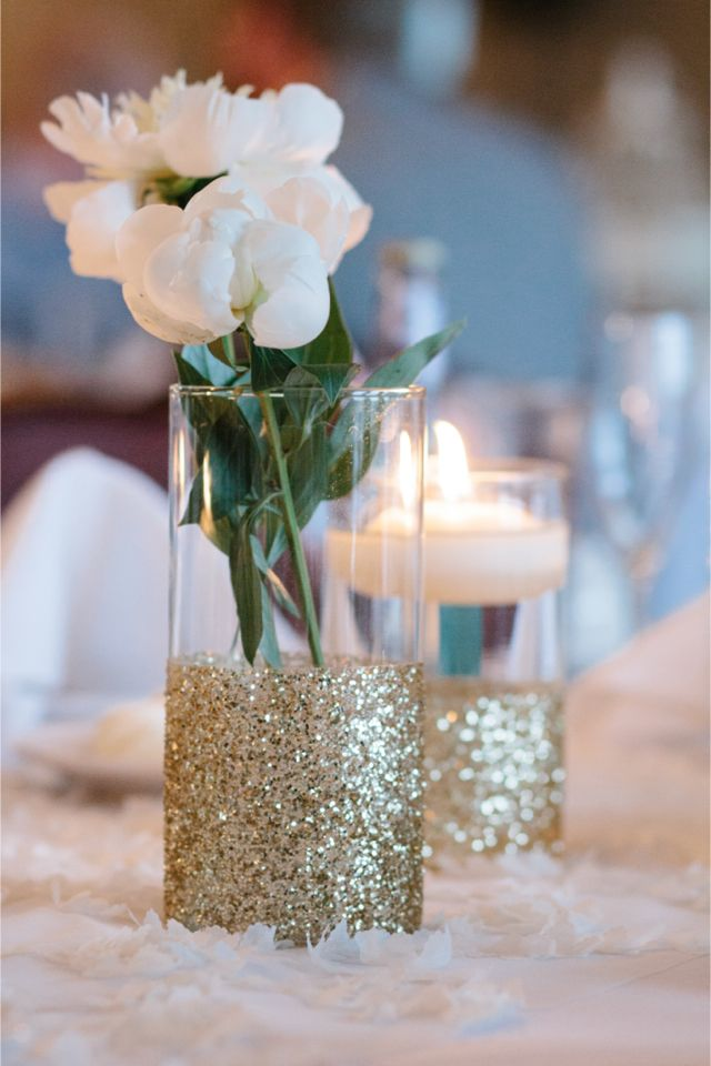 Glitter wedding vase ideas
