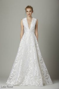 elegant wedding dress plunging v neckline
