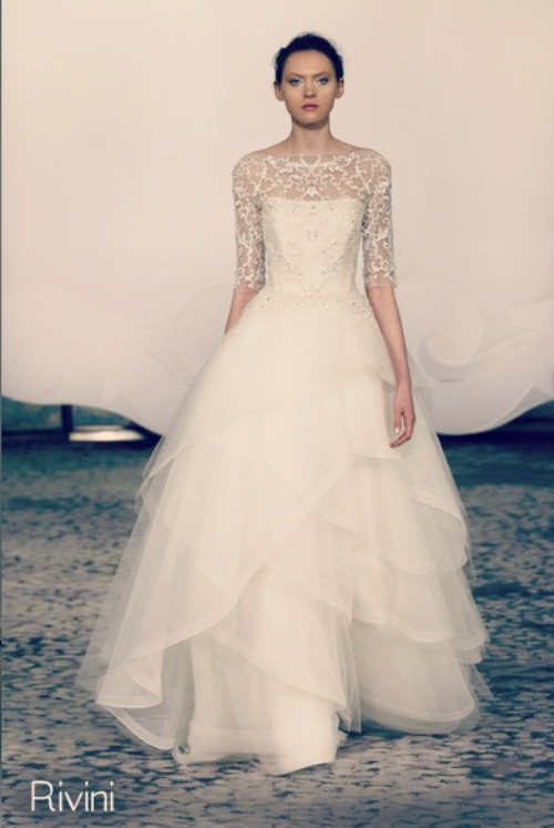 elegant wedding dress layered