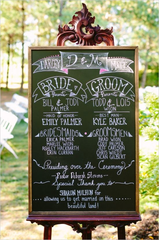 DIY chalkboard program affordable wedding ideas from real brides