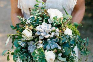 eucalyptus and succulent bouquet summer