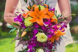 purple orange wedding bouquet