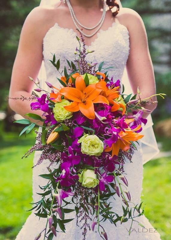 Purple Orange Wedding Bouquet