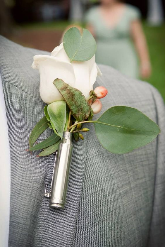 Shotgun shell boutineer real affordable wedding ideas