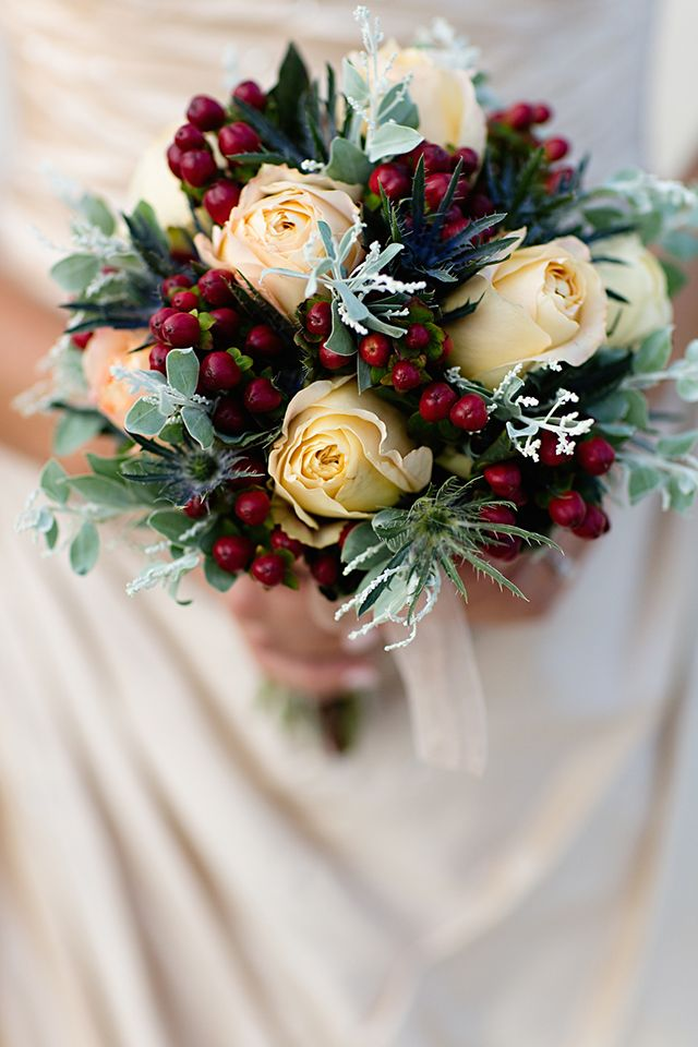white rose winter wedding bouquet