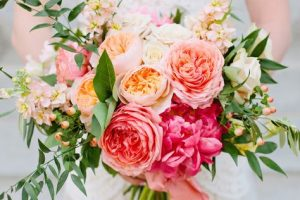 coral summer wedding bouquet