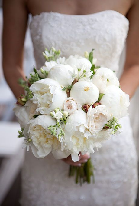 white roses wedding bouquet winter peonies