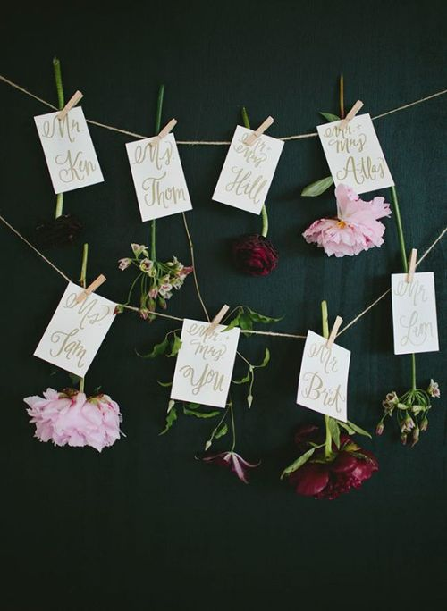 flower wedding table card ideas