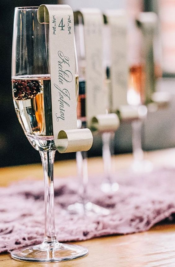 champagne glass wedding table card ideas