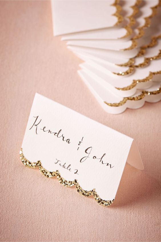 Glitter trim wedding table card ideas