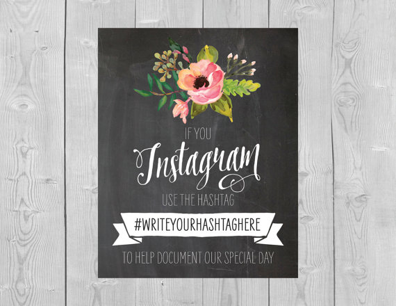 Wedding hashtag instagram table card ideas