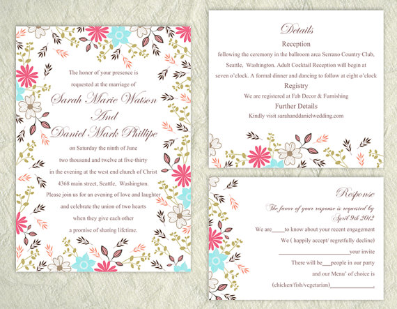 Etsy floral wedding invitation template