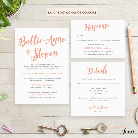wedding invitation template ideas from etsy
