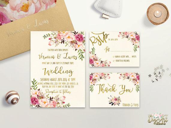 Attractive Floral Etsy Wedding Invitation Template Ideas