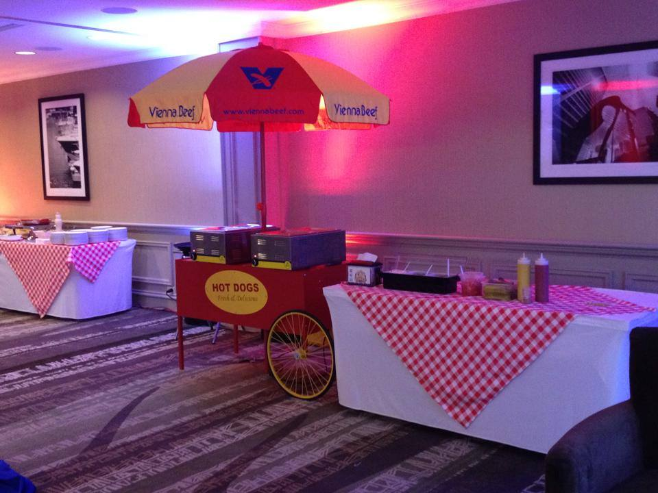 Hot dog cart wedding reception