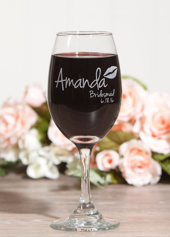 Wine Glass esty bridesmaid gift
