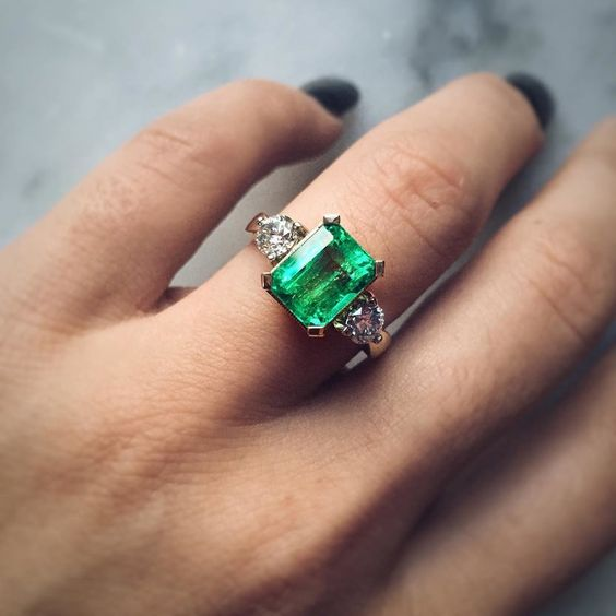 green color engagement ring