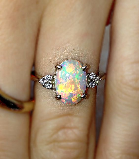 opal color engagment rings