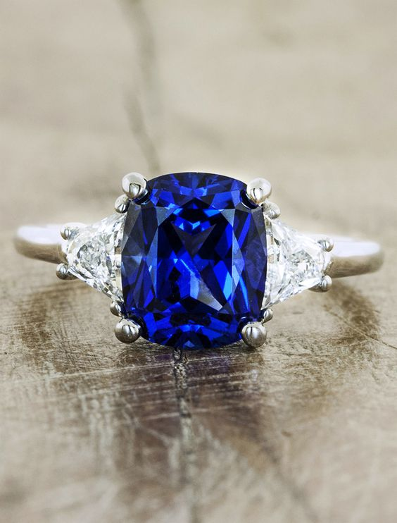 blue saphire color engagment rings