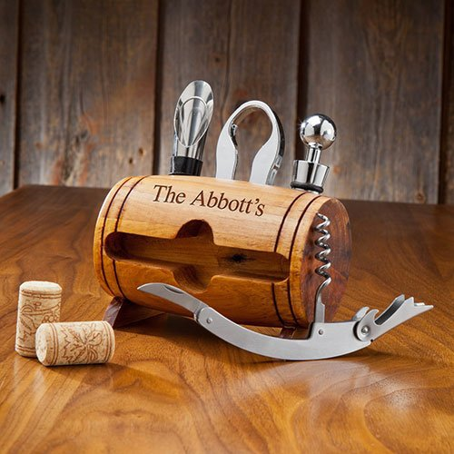 Personalized Wine Barrel Accessory Set - Available at Beau-Coup.com
