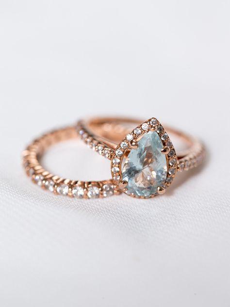 Light blue color engagement ring