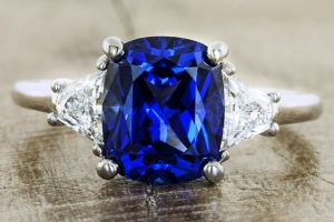 blue saphire color engagment ring